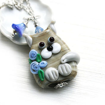 Tabby Cat Pendant, Grey Kitten, Cat Jewelry, Lampwork glass Cat with blue flowers, Adoptable, Cat lover gift, Pet Adoption, Cat lady