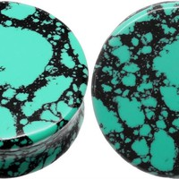 Aqua Green/Teal Howlite Organic Stone Ear Plugs Gauges Sold in Pairs (5 mm-4 gauge)