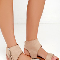 Sunshine Darling Oat Beige Suede Fringe Sandals