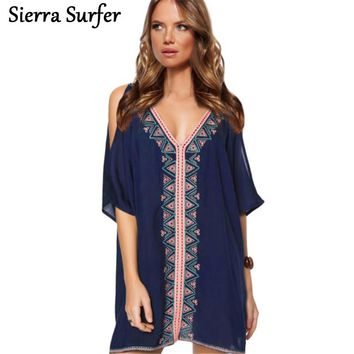 Swimsuit Cover Up Swimwear Women Ladies Beachwear Dresses Kaftan Dress Beach 2018 Zhang Qing Neck Embroidered With Overclothes