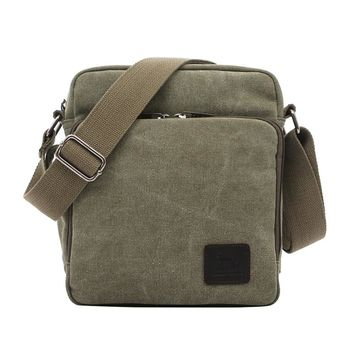 Mens Messenger Bag Canvas Cross Body Shoulder Sling Bag for Outdoor Sports Traveling (Green)
