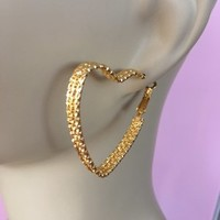 18KGF Stacked Heart Hoops