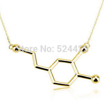 Min1pc 2016 Newest Dopamine necklace Dopamine Molecule Necklace Chemistry Necklace Tiny Infinity Crystal Pendant Necklaces XL140
