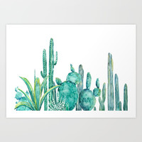 green cactus jungle watercolor Art Print by Color and Color
