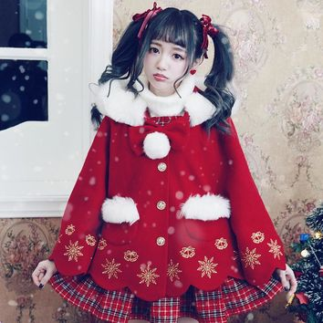 BOBON21 Princess sweet lolita student sweater Christmas snowflake embroidered wool coat C1439
