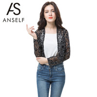 ANSELF Europe Women Short Outerwear Open Front Lace Long Sleeves Thin Cardigan Casual Elegant Coat Sunscreen Tops Women Black