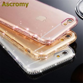 Ascromy For iPhone X Case Luxury Cute Silicone Glitter Phone Case Cover For Apple iPhone 7 Plus 8 6 6S 5 5S SE Coque Accessories