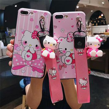 For iPhone XS Max Hello Kitty case,Cute Cartoon bear Soft case For iPhone XR XS X 6 7 8 plus Daisy phone cover+toy stander+Strap