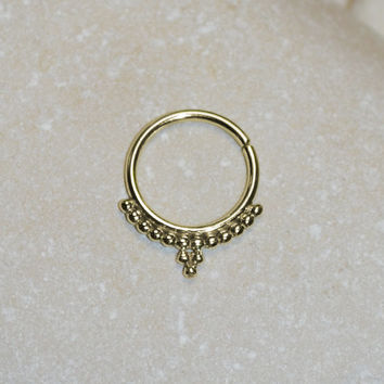 Gold SEPTUM RING // Nose Ring - Septum Jewelry 16g - Cartilage Hoop - Helix Earring - Tragus Jewelry - Conch Piercing - Rook Jewelry