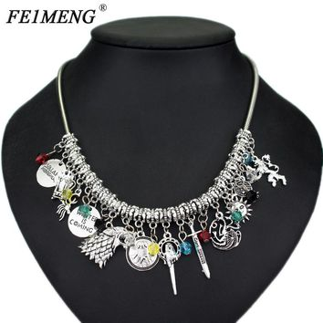 Game of Thrones Charm Choker Necklace Winter Is Coming Wolf Head Hand Of The King Song Of Ice And Fire Dragon Pendant Necklace