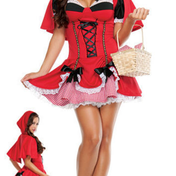 Newest Christmas Sexy Adult Little Red Riding Hood Princess Dress For Cosplay, Nightclub Bar And Halloween Party