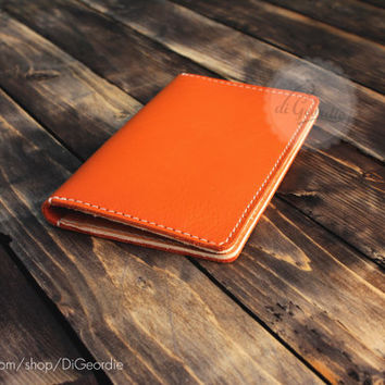 Men's leather wallet iPhone clutch wallet billfold wallet orange genuine leather wallet credit card wallet card holder wallet travel wallet