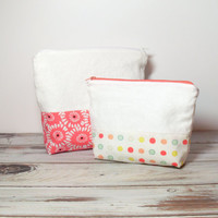 Pink Cosmetic Bags - Set of 2 - Floral Makeup Bags - Spring Zipper Bags - Pink Polka Dots - Spring Floral Pouch - Graduation Gift