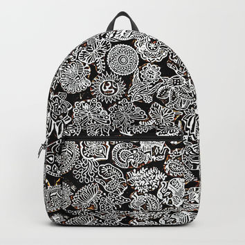 B&W Nature Leaves Pattern art Backpack by Ppandadesign