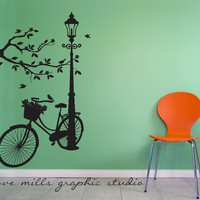 Silhouette Wall decal  Lamp and Bike wall by GroveMillsGraphics