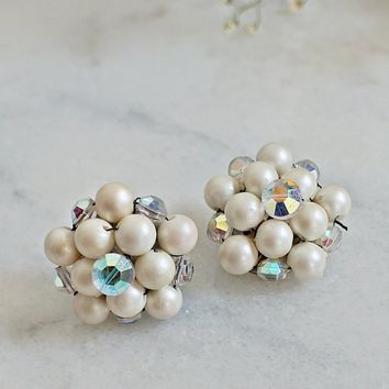 Vintage 1950s Pearl Cluster + Aurora Borealis Earrings