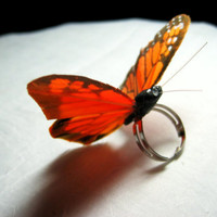Butterfly ring Monarch SALE by scarletmaiden on Etsy