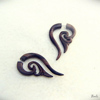 "Fake Gauge Earrings, Bali Tribal Wood Earring Fake Piercing ""Yoana"""