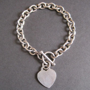 Vintage Heart Charm Bracelet Sterling Silver Toggle Clasp