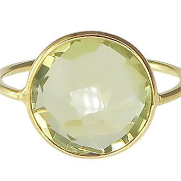 Lemon Quartz 18K Gold Plated Sterling Silver Wholesale Gemstone Fashion Jewelry Round Cut Ring