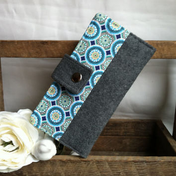 Pretty felt and blues folded womens wallet with coin pouch, bill slots, card slots