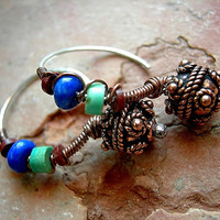 Colorful Boho Wirewrapped Ear Hoops .Fancy Copper Beads .Lapis, Turquoise,Pipestone
