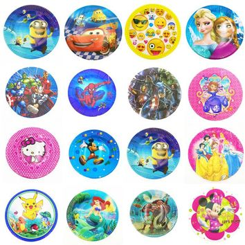 Lightning Mcqueen plates Frozen Elsa And Anna Pikachu mermaid Trolls Moana Mickey Mouse Hello kitty party supplies 10pcs/set