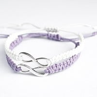 Infinity Friendship Bracelets Lavender and White