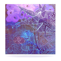 "Marianna Tankelevich ""Abstract With Wolf"" Purple Illustration Luxe Square Panel"