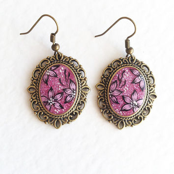 Hand painted Earrings Rose Sherbet pink flowers vintage style gift for her