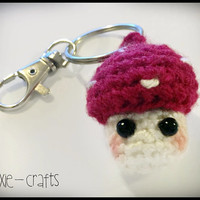 Handmade Crochet Toadstool Key Chain / Bag Charm