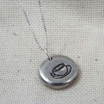 Latte Necklace, Coffee Necklace, Latte Jewelry, Coffee Jewelry, Cup of Latte, Pewter Pebble Necklace, Stamped Jewelry, Personalized Jewelry