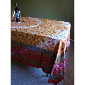 Handmade 100% Cotton Floral Tie Dye Tapestry Throw Tablecloth Spread Reds 70x106