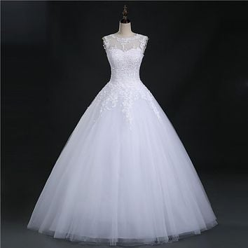 9036 2016 lace White Ivory Prom Gown Lace up back Wedding Dresses for bride gown Appliques Vintage plus size maxi Customer made