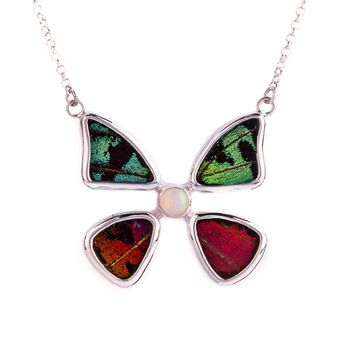 Silver butterfly necklace with ethiopian opal birthstone - Shimmering Rainbow Green  Sunset Moth