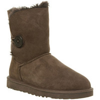 UGG Australia BAILEY BUTTON CHOCOLATE BROWN SUEDE Shoes - Womens Ankle Boots Shoes - Office Shoes