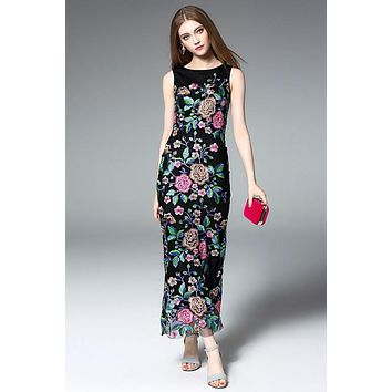 All Floral Embroidered Maxi Dress