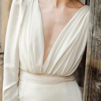 Long sleeve wedding dress, chiffon wedding dress, romantic wedding dress, designer wedding dress