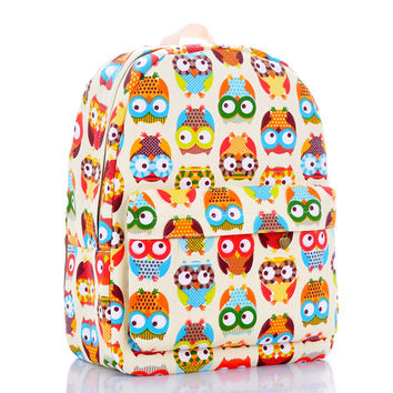 Cats Canvas Lovely Owl Cute Backpack = 4887736772