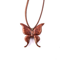 Wooden Pendant Necklace, Wooden Butterfly Necklace, Wooden Butterfly Pendant, Hand Carved Pendant, Wood Carved Pendant, Butterfly Necklace