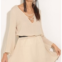 Party dresses > Criss-Cross Shift Dress In Oatmeal