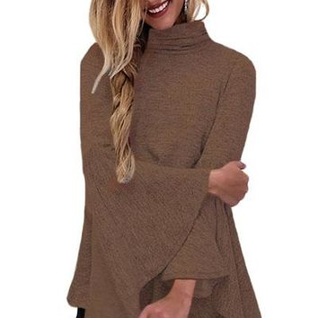 Coffee Flared Bell Sleeve Knit Blouse