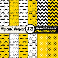 Moustache and Glasses - Digital paper pack - Yellow, black and white  - Scrapbooking & graphic design - 12x12 - A4 - Polka dots, chevron