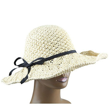 Samtree Womens Girls Crochet Roll-up Wide Brim Sun Beach Floppy Straw Cap Hat (Apricot)