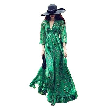 2018 Women Spring/Summer Long Dress Chiffon Deep V-Collar Boho Vestido Flare Sleeves Floral Print Casual Maxi Dress