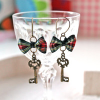 Key and plaid bow dangle earrings romantic gothic Outlander
