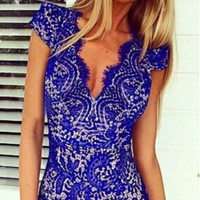Lace Openwork V Neck  Dress