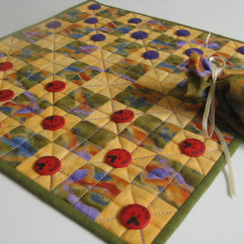 Quilted Board Game  Table Runner  Buttons Checkers  Father's Day
