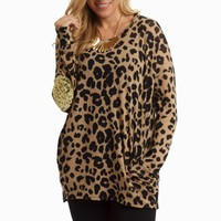 Mocha-Leopard-Sequin-Elbow-Knit-Top