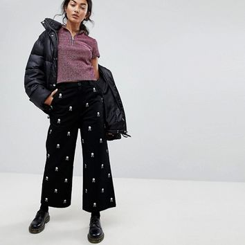 Lazy Oaf Wide Leg Jeans With All Over Skull Embroidery at asos.com